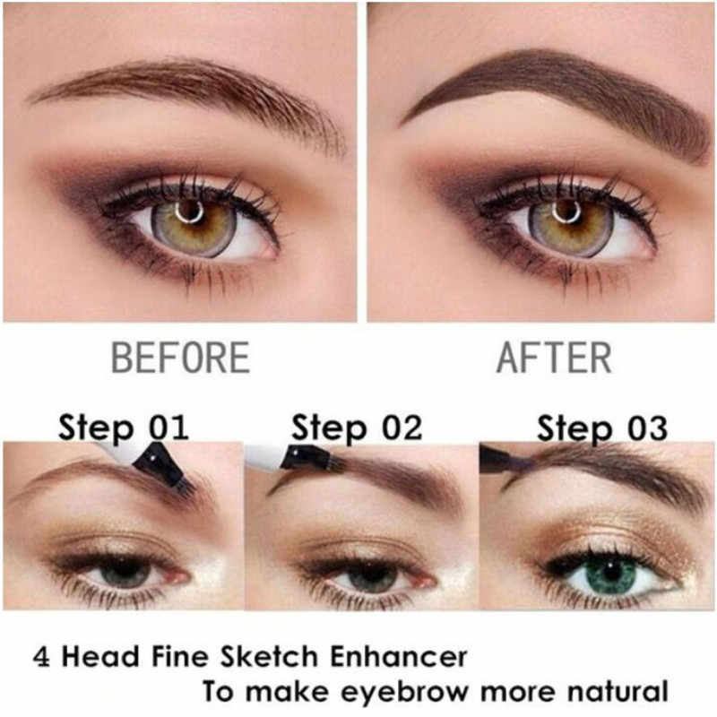 5 Color Liquid Eyebrow Pencil Waterproof Lasting Natural Eyebrow Pencil 4 Fork Tip Fine Sketch Eyebrow Tattoo Liquid Eyebrow Pen