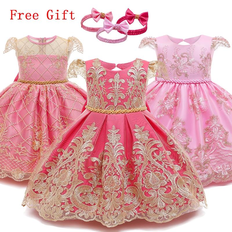 Chrzest sukienka dziewczynka ubrania kula z kwiatów suknia 1 2 lata urodziny małe dziewczynki odzież niemowlę dziewczynki Party kostium księżniczki