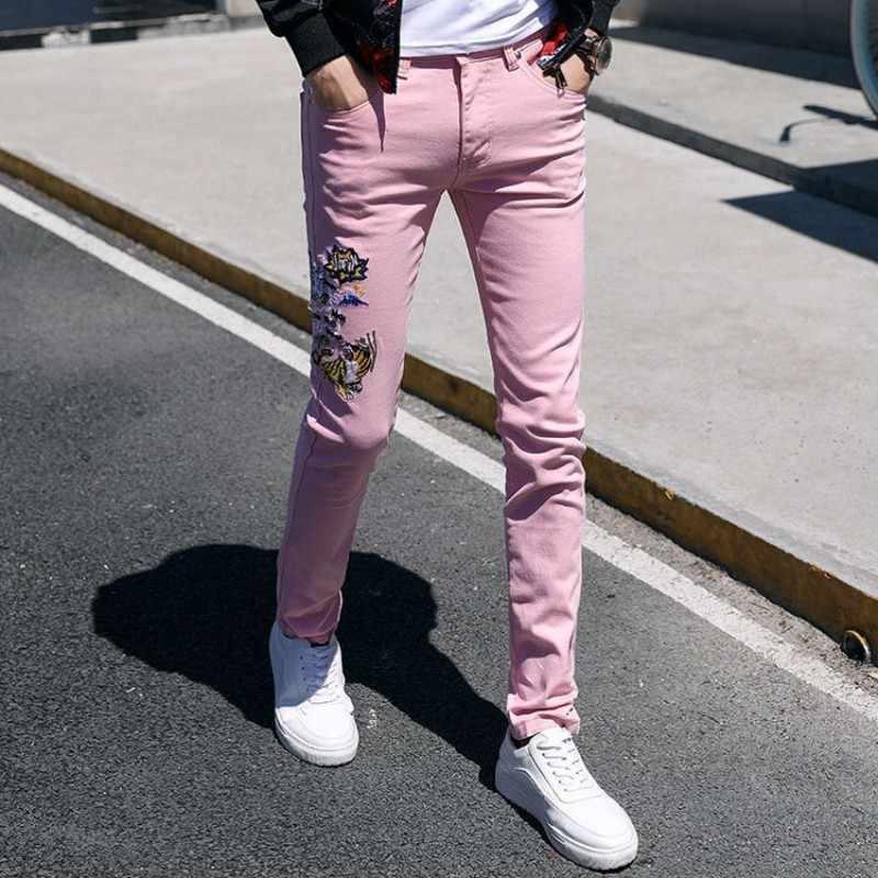 Fashion 2020 Mens Dier Borduurwerk Jeans Slim Fit Casual Potlood Broek Gepersonaliseerde Streetwear Hip Hop Jeans Denim Broek