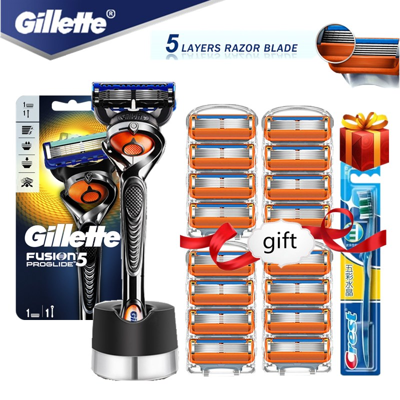 Gillette Fusion Proglide Razors Blade for Men Machine for Shaving Blades 5 Layer Cassettes With Replacebale Blades with Base