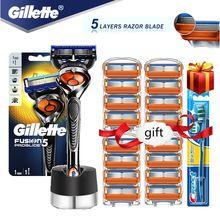 Gillette Fusion Proglide – lames de rasoir pour hommes, Machine de rasage à 5 couches avec lames de rechange et Base