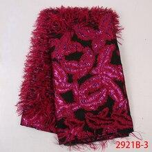 Tela Jacquard de color azul de encaje real, encaje nigeriano Tissu para ropa de costura, lazo de brocado africano de buena calidad con pluma APW2921B