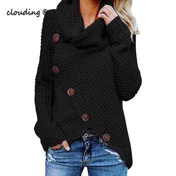 Stylish Bar Women Knitted Pullover Sweater Long Sleeve Turtleneck Solid Girl Pullovers Blouse Shirt Jumper Winter Women Clothing stylish long sleeve self tie denim blouse for women