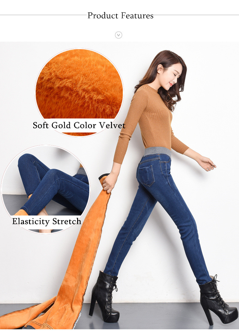 Plus Velvet Jeans Women Casual Pants High Waist Jeans Elastic Waist Pencil Pants Fashion Denim Trousers Winter Warm Plus Size 40 10