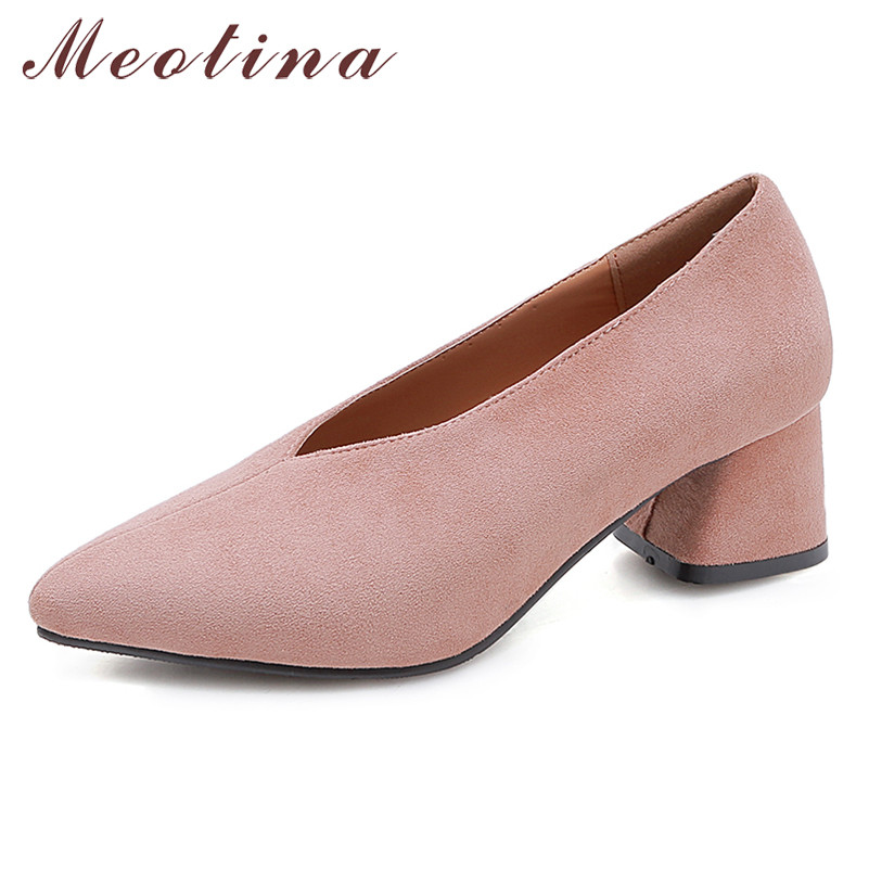 Meotina High Heels Women Pumps High Quality Square Heels Glove Shoes Flock Pointed Toe Work Shoes Female Spring Large Size 33-46