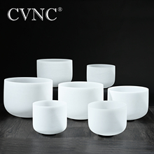 CVNC 432Hz or 440Hz set of 7pcs  7 - 14 Chakra tuned CDEFGAB Frosted Quartz Crystal Singing Bowls