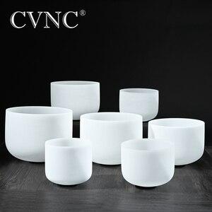 "Image 1 - CVNC 432Hz or 440Hz set of 7pcs  7""   14""  Chakra tuned CDEFGAB Frosted Quartz Crystal Singing Bowls"
