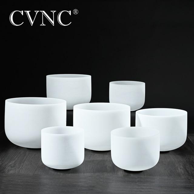 "CVNC 432Hz or 440Hz set of 7pcs  7""   14""  Chakra tuned CDEFGAB Frosted Quartz Crystal Singing Bowls"