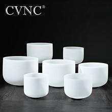 """CVNC 432Hz ou 440Hz ensemble de 7 pièces 7 """"   14"""" Chakra accordé CDEFGAB givré Quartz cristal chantant bols"""