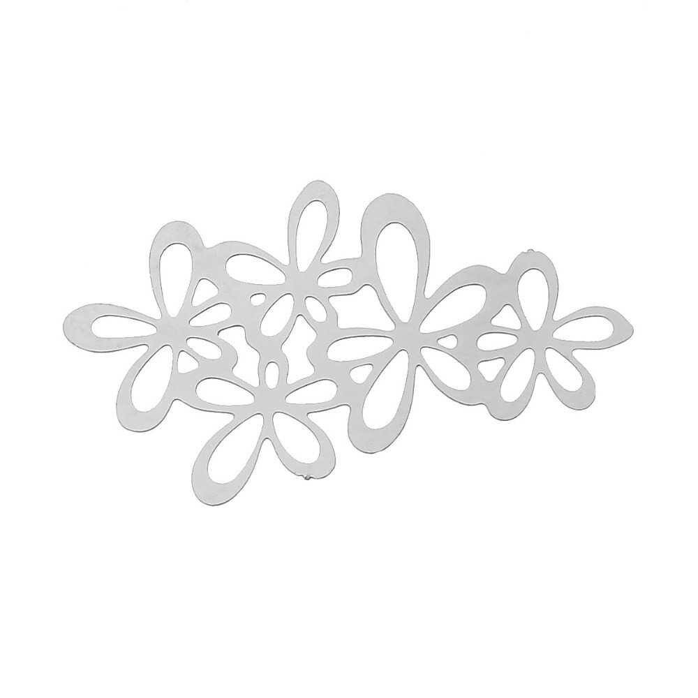 Doreenbeads Filigree สแตนเลส Embellishments เครื่องประดับ Elegant ดอกไม้เงินโทน 34x20 มม.,2 ชิ้น