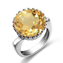 Szjinao Citrine Rings For Women Real 925 Sterling Silver Unique Wedding Ring Big Round Shape Fashion