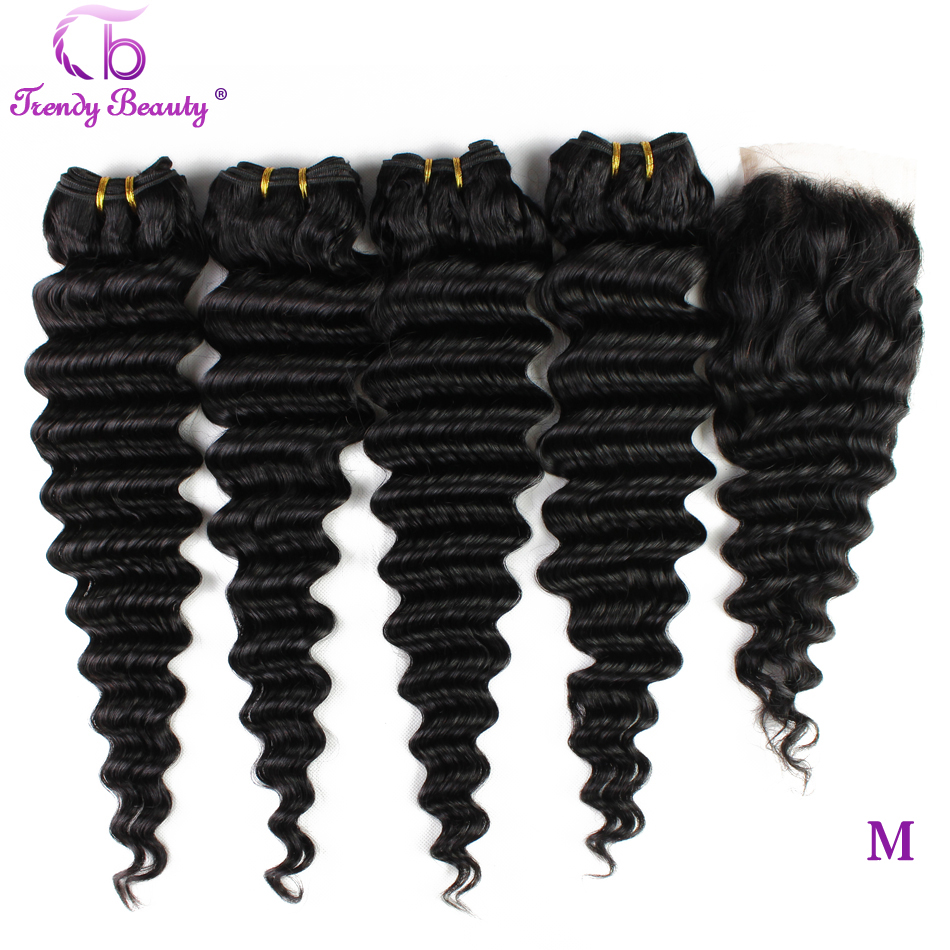 Closure Human-Hair-Bundles Deep-Wave Trendy Beauty Black-Color Brazilian with Natural