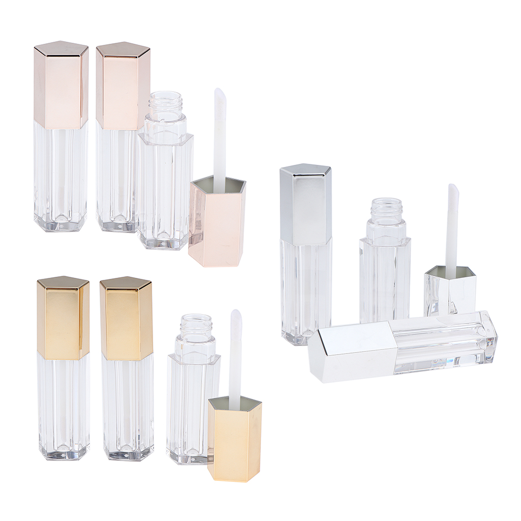 5ml Empty Plastic Clear Lip Gloss Tubes Lip Balm Oils Bottle with Wand 9Pcs image