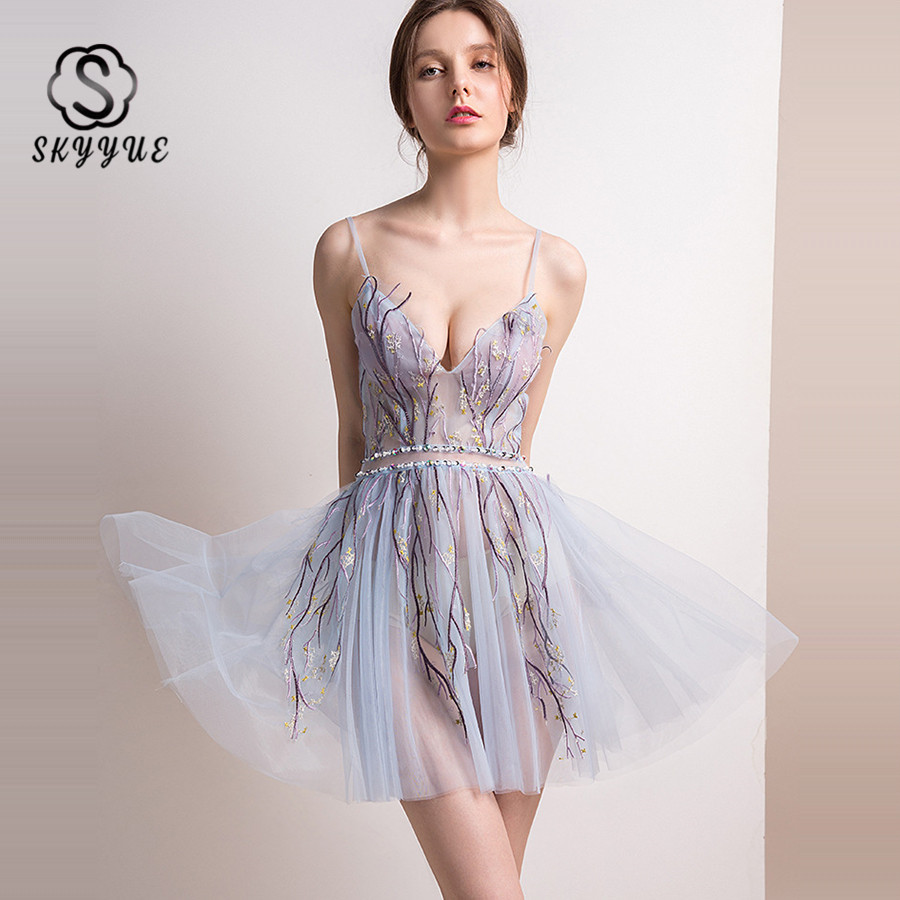 Skkyue Cocktail Dress 2019 Sling V-neck Sleeveless Perspective Dresses Embroidery Robe De Soiree Sequin Short Cocktail Gown H065