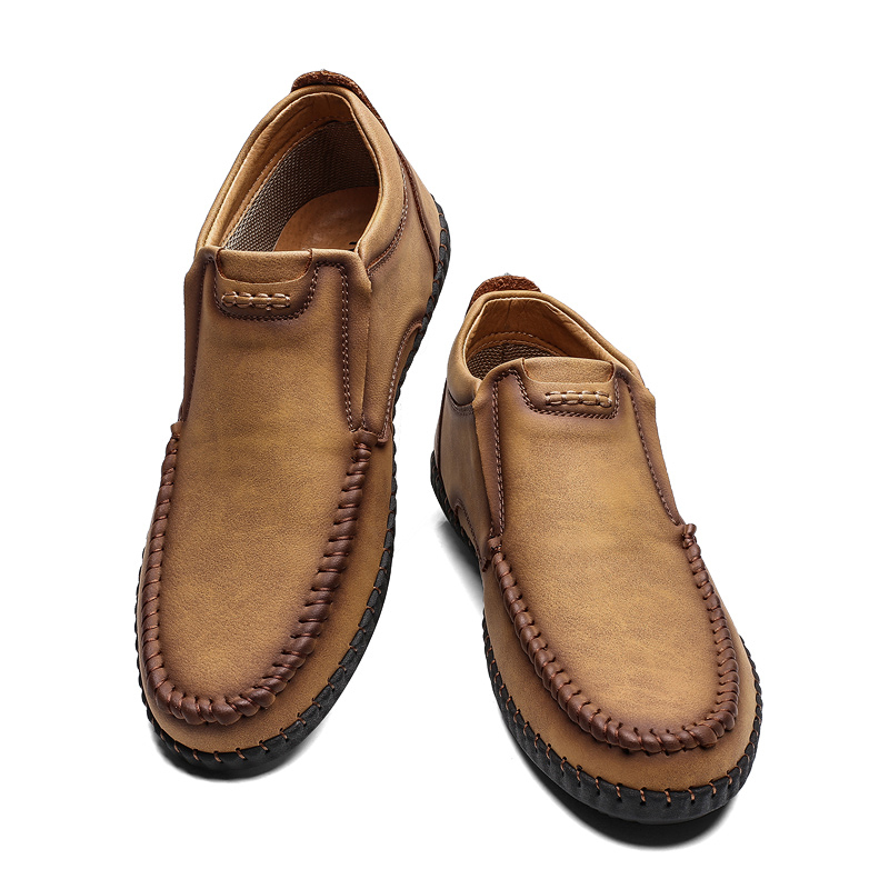 casual leather winter shoes brown