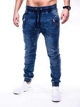 Men's Vintage Stretch Cotton Jeans Blue Skinny Jogging Smart Casual Denim Frenum Jeans Cargo Loose Biker Pants Pure Color