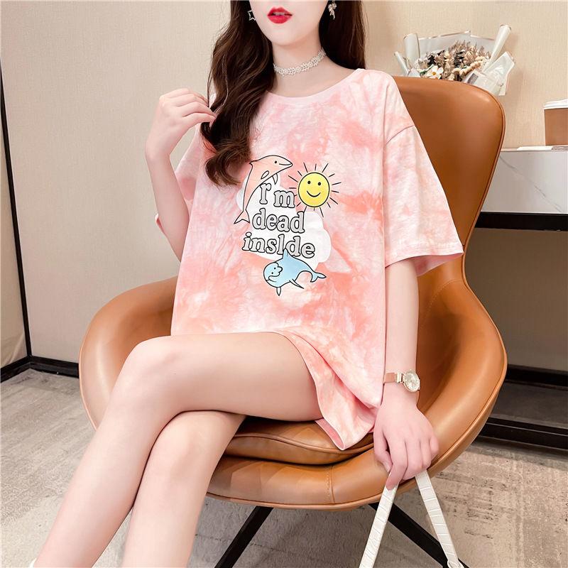 Y2k Женская модная футболка с круглым вырезом и коротким рукавом с галстуком и принтом животных Qi, свободные Дамские топы в стиле Харадзюку с ...