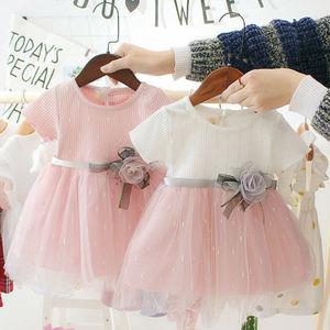 W nowym stylu piękne dziewczynek sukienka lato noworodka kreskówka plaża sukienka księżniczka Party urodziny chrzest kostium odzież dla niemowląt