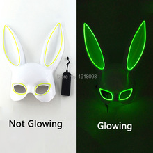Cute Colorful Rabbit Ball Mask Half Face LED Glowing EL Halloween Party 10 Colors with 3V Driver Festival Props