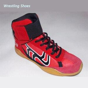 Zapatos de lucha libre de cuero transpirable rojo zapatos de lucha libre para la comprensión y el entrenamiento botas de Kung Fu