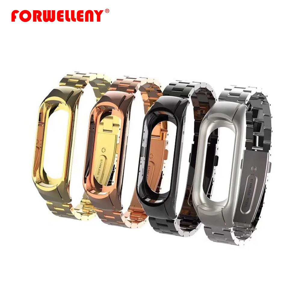 Watchbands Strap For Xiaomi Mi Band 3 Mi Band4 Smart Watch Metal Band Three Links Stainless Steel Watch Band