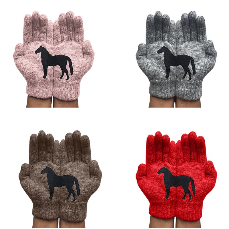 Women Winter Warm Knitted Gloves Funny Black Horse Irregular Patchwork Mittens