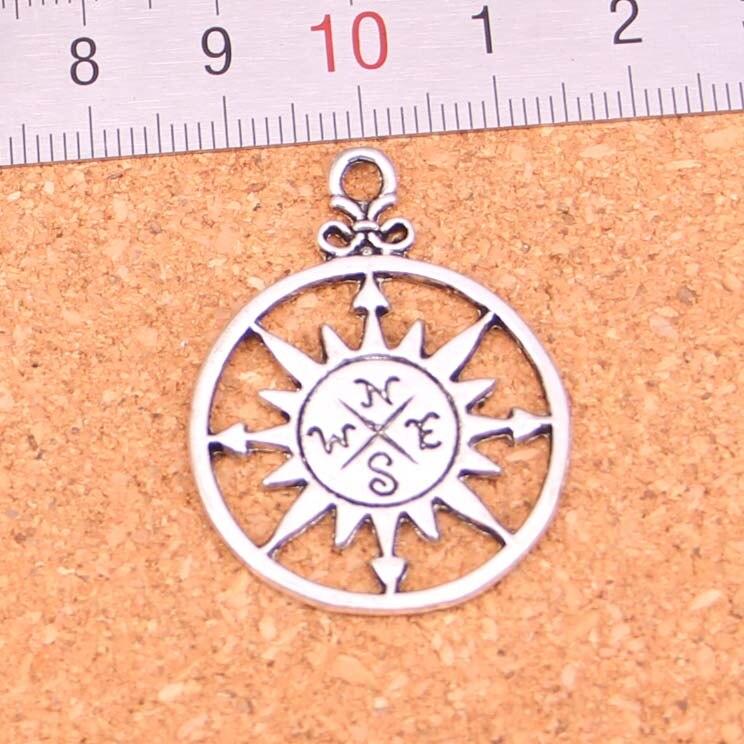 34 pçs círculo bússola encantos pingente para diy colar pulseira jóias fazendo diy artesanal 36*27mm