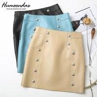 2020 Spring New Fashion High Street genuine Leather Skirt Women Sheepskin Short Skirt Double Breasted High Waist Bag Hip Skirt