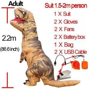 Image 1 - Costume T Rex pour femme et homme adulte, Costume de dinosaure gonflable, Costume de Cosplay Anime, fantaisie dhalloween T Rex, pour enfants, femmes