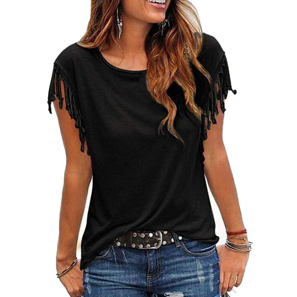 Casual Summer Women Tassel Solid Color T-shirt Round Neck Sleeveless Tee Top Ladies Solid Color Round Neck Lace Short Sleeves