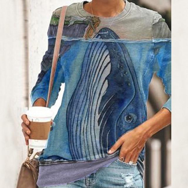 Blouse Women 2020 Women O Neck Fun Pattern Printed Long-sleeved Blouse Harajuku Shirt ropa de mujer блузка женская 2020 1