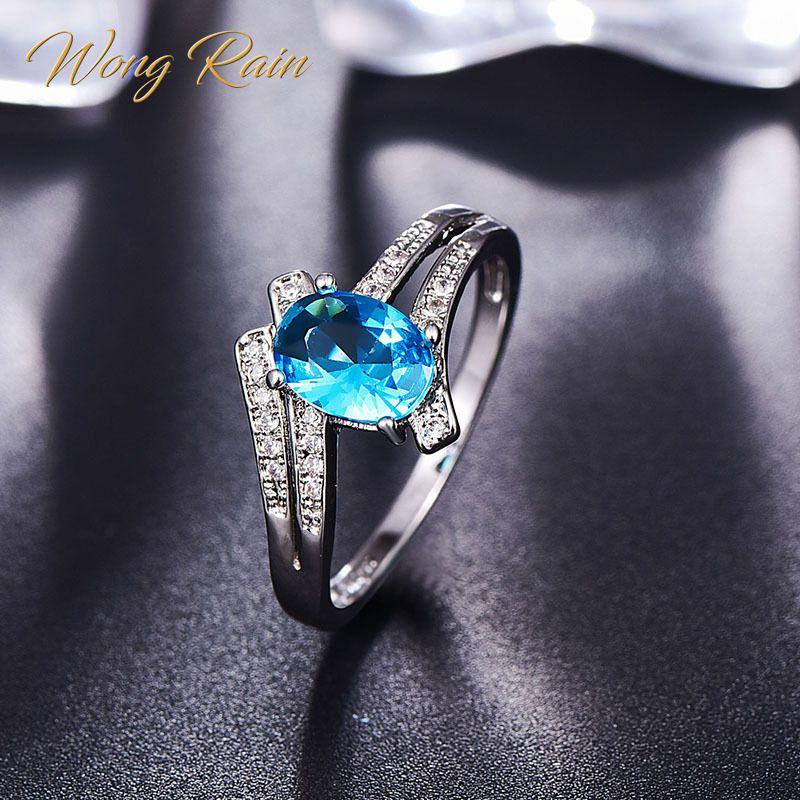 Wong Rain 925 Sterling Silver Oval Aquamarine Ruby Morganite Amethyst Gemstone Wedding Engagement Ring Fine Jewelry Wholesale