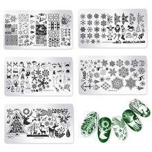 Natal ferramenta de unhas floco de neve papai noel prego placas de carimbo de mármore diy imagem carimbo modelos geométrico impressão estêncil ferramentas