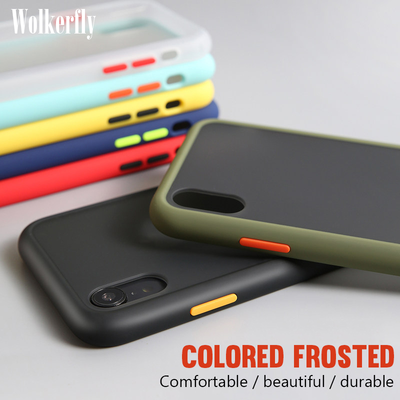 Shockproof <font><b>Armor</b></font> <font><b>Case</b></font> <font><b>For</b></font> <font><b>iPhone</b></font> 11 Pro <font><b>Max</b></font> 7 8 6 6S Plus Soft Frame Hard PC Cover <font><b>For</b></font> <font><b>iPhone</b></font> <font><b>XS</b></font> <font><b>Max</b></font> XR <font><b>X</b></font> Matte Transparent <font><b>Case</b></font> image