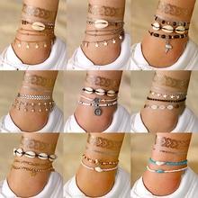 Прямые продажи Модный богемный Серебряный Набор браслетов для ног для женщин новые золотые листья карта ножной браслет на ногу на босую ногу ювелирные изделия