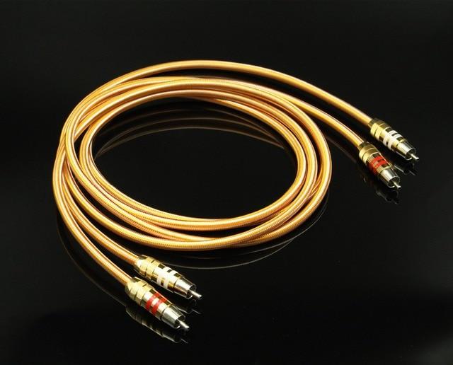 Пара посеребренных кабелей RCA, высококачественный медный провод RCA