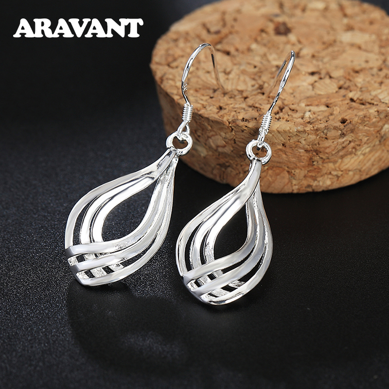 925 Silver Drop Earrings For Women Twist Wave Line Water Drop Earring Fashion Jewelry