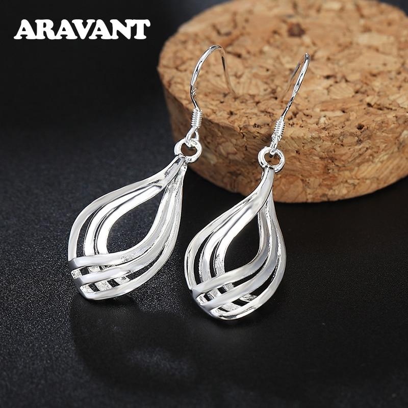 925 Silver Drop Earrings For Women Twist Wave Line Water Drop Earring Fashion Jewelry