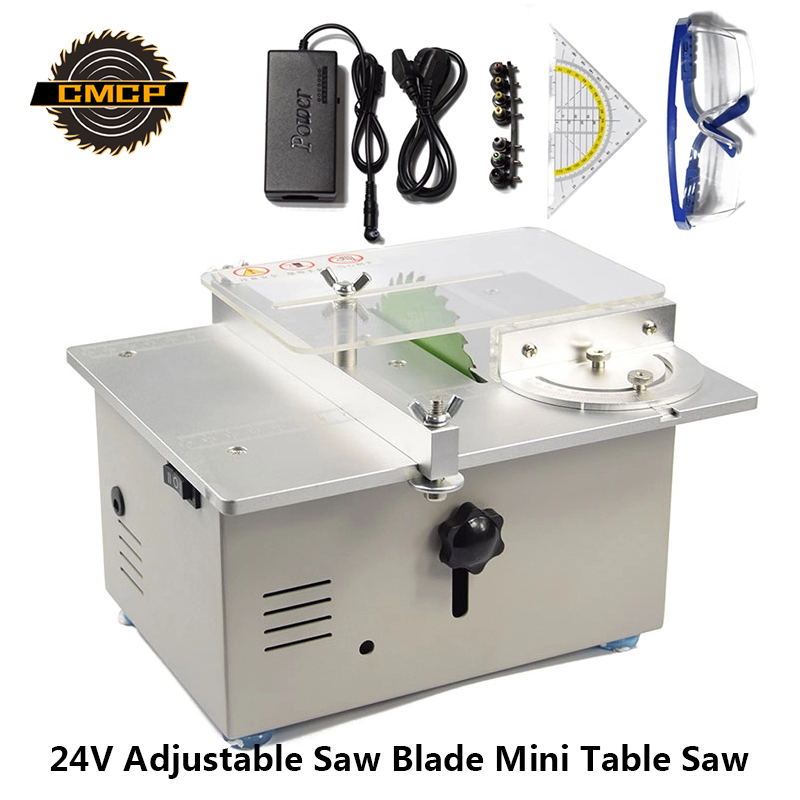 Red/Slivery 24V Adjustable Saw Blade Dual Motor Mini Table Saw Cutting For Grinding Polishing Multifunction Electric Saw