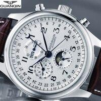 GUANQIN العلامة التجارية مشاهدة الرجال الفاخرة التلقائي ساعة ميكانيكية مقاوم للماء ساعة الرجال الجلود ساعات المعصم Relogio Masculino