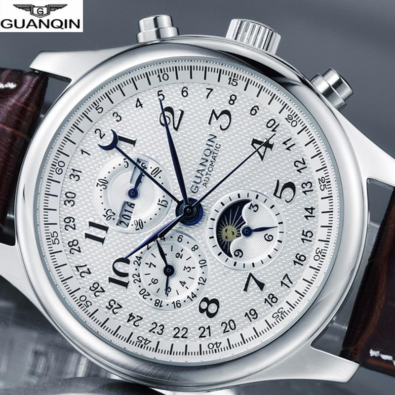 GUANQIN Brand Watch Men Luxury Automatic Watch Mechanical Waterproof Clock Men Leather Wrist watches Relogio Masculino