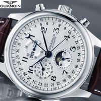 GUANQIN marque montre hommes de luxe automatique montre mécanique étanche horloge hommes en cuir montres Relogio Masculino