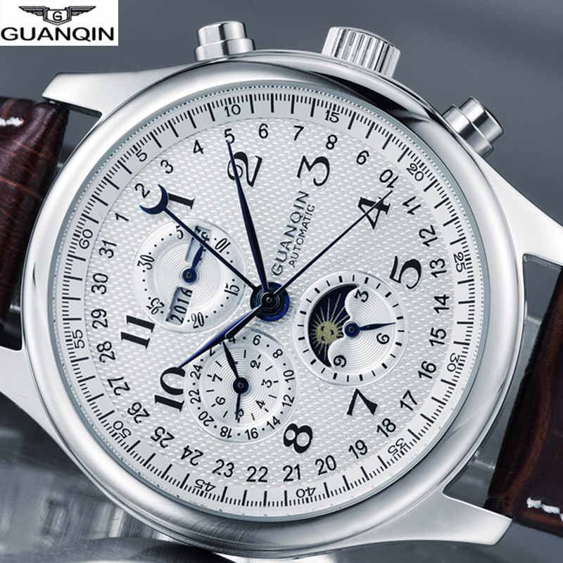 Guanqin marca relógio masculino de luxo relógio automático mecânico à prova dwaterproof água relógios de pulso de couro masculino