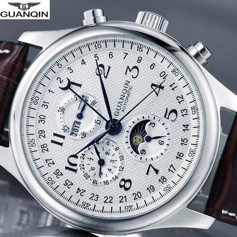 Masculino de Luxo Mecânico à Prova Relógios de Pulso de Couro Guanqin Marca Relógio Automático Dwaterproof Água Masculino