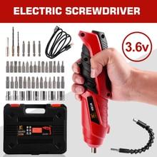Destornillador eléctrico inalámbrico de 3,6 v, juego de herramientas eléctricas para el hogar, mango con batería recargable