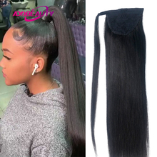 Straight Drawstring Ponytail Virgin Human Hair With Clip In Wrap Around Hair Extension