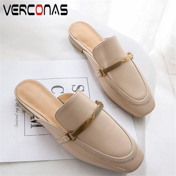 VERCONAS 2020 mules Woman Sandals Woman Pumps brand design Genuine Leather metal decoration round Toe square Heeled Shoes Woman
