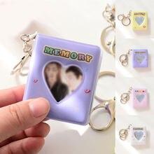 Album Photo en forme de cœur ajouré, 16 pochettes, 1 pouce, avec porte-clés, couleur bonbon brillante, pour Mini Photo, carte de nom