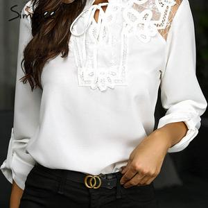Image 2 - Simplee Elegant lace up chiffon blouse women Ruffled lace embroidery female shirts Long sleeve autumn winter ladies white tops