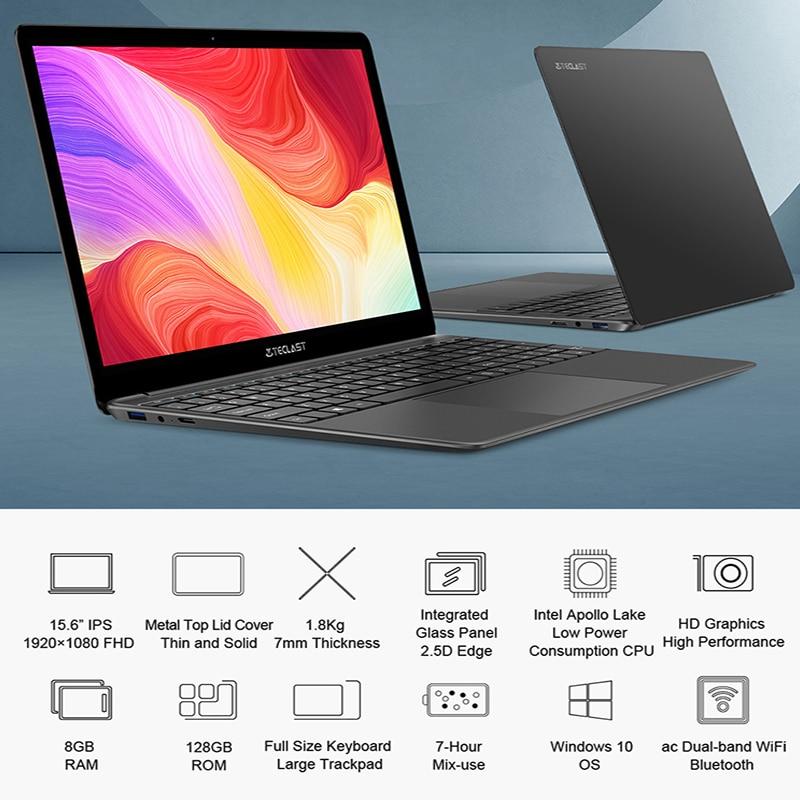 Mais novo teclast f15s 15.6 Polegada portátil windows 10 notebook 1920x1080 fhd intel apollo lago laptops 6gb/8gb ram 128gb rom wifi duplo 2